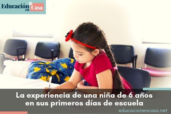 primer día de escuela de una niña de 6 años