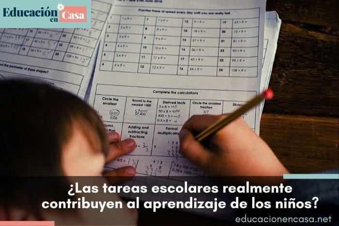 las tareas escolares contribuyen al aprendizaje